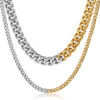 3 / 9mm Collar de gargantilla de acero inoxidable con estilo 3/9mm para hombres Mujeres MIAMI CUBANA CUBIAN CURBA Cadena de enlace de oro DDNM37