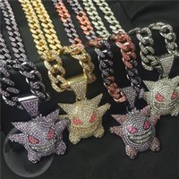 Pendant Necklaces Hip Hop Zircon Anime Ghost With Iced Out Bling Rhinestone Miami Cuban Chain Choker Necklace For Men Boy Gothic Jewelry