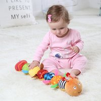 Children's Soft Stuffed Toys Toddler Plush Dolls Musical Caterpillar with Ringing Paper Bells Educational Toy for Newborn Baby Boys, Girls