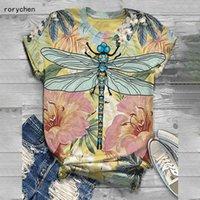 Rorychen 2020 estampado de animales Nuevos Arriaval Mujeres de dibujos animados Dragoy Impreso Camiseta de manga corta O-cuello Casual Tops TEE A610