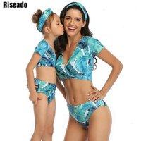 RISEADO Push Up Brasilianischer Bikini 2020 V-Ausschnitt Frauen Badeanzug Kurzarm Badebekleidung Hohe Taille Badeanzug Druck Strand Wear1