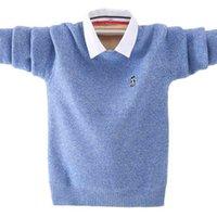 Große jungen reine baumwolle pullover 4-16t kinder warme jacke baby pullover langarm strickte mit hemd kragen outfit 210831