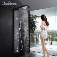 SENLESEN escovado níquel / orbe thermosatic chuveiro painel de coluna parede montagem w / massagem jatos para banheiro chuveiro ducha diodo emissor de luz