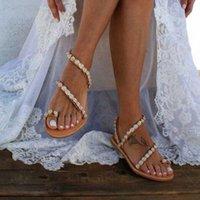 Shujin Женщины Сандалии Летняя Обувь Плоские Жемчужные Сандалии Удобные Струнные Бусины Тапочки Женщины Случайный Размер 35 43 Гладиатор Сандалии Свадебные Обувь из JAD A3CC #