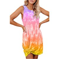 Casual Dresses Tie Dyed Short Sleeve Strapless Round Neck Slim Fit Sweet Spring Autumn Temperament Fashion Vacation Beach Dress