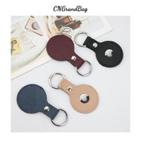 For Apple Airtag Case Saffiano Leather Keychain Protective Cover For Air Tag Dog Traker Locator Device For Airtag Key Fob Case