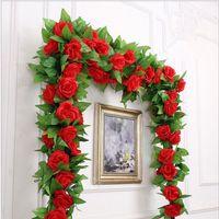 250CM lot Silk Roses Ivy Vine with Green Leaves For Home Wedding Decoration Fake leaf diy Hanging Garland Artificial Flow