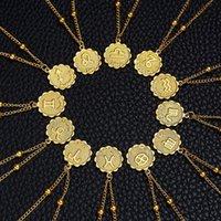 2020 12 Signo del zodiaco Collares de oro Moneda redonda Colgante Collar de constelación para mujeres Joyería de moda Regalo de cumpleaños Dropshipping