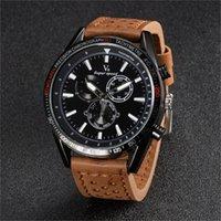 Relógios de pulso 2021 moda v6 couro relógio homens analógico relógios de quartzo relógios de luxo de alta qualidade militar Relogio masculino