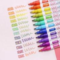 12 colori dorati doppie linee arte marcatori fuori linea penna cancelleria arte disegno penne per calligrafia lettering colore scrapbooking