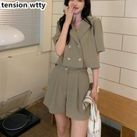 Women's Tracksuits Korean Fashion Two Piece Set Women Outfits Short Sleeve Crop Top And High Waist Wide Leg Pant Suits Girl Sweet Shorts