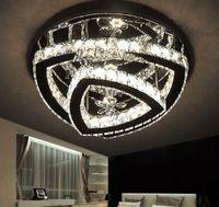 Lámpara de techo de acero de cromo moderno Lámpara de techo Lamparas Lustre Crystal Dormitorio LED Luces de techo Luminaria Foyer Luz de techo Logros