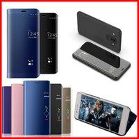 Capas telefônicas para Samsung A70 Mobile Shell Bracket A8Plus Banhado Espelho A9Star Inteligente Sono A6s Capa protetora A52018