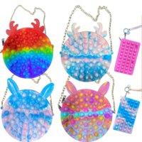Silicone Purse Push Bubbles Simple Dimple Stationary Bag Shoulder Bags Sensory Poppet Handbag Fidget Toys Kids Girls Gift