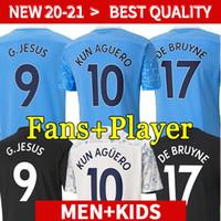 20 21 Ciudad de fútbol Jersey 2020 2021 Versión del jugador Camisa de Fútbol Sterling Kun Agüero De Bruyne Gesus Bernardo Mahrez Rodrigo Hombres Kits Kits