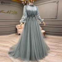 Party Dresses Elegant Muslim Long Sleeve Formal Evening Dress 2021 Tulle A-Line Flowers Vestidos De Festa Longo High Collar Blue Prom