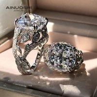Bagues de cluster Coussin Ainuoshi Coup de 13x13mm Sona Diamond Engagement de Femmes 925 Sterling Sterling Prestige Vintage cadeau spécial