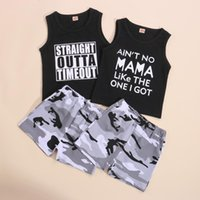 Clothing Sets Kids Suit Set, Summer Letter Print O-Neck Vest+ Camouflage High Elastic Waist Shorts For Baby Boys
