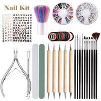 Nail Art Kits 11 Pc Manicure Set Point Painting Pen 3D Drill Stickers Dust Brush Dead Skin Scissors File Tools Diy Kit Gold Line