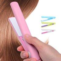 Electric Hair Brushes Mini Straightening Iron Pink Ceramic Straightener Flat Styling Tools Curler Falt