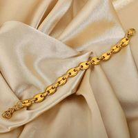 Link, Chain Charm Bracelet Ins Pig Nose Luxury Punk Jewelry Gold Plated Titanium Steel Coffee Bean Bracelets