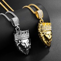 Pendant Necklace crown lion HIPHOP mens womens hip hop alloy 18k gold plated with Diamond fashion hot 2021 silver wholesale price