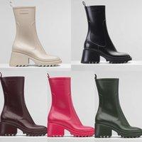 2021 Tasarımcı Betty PVC Kadın Çizmeler Beeled Hakiki Deri Yağmur Yarım Boot Laureate Platformu Kış Martin Kare Toes Tıknaz Topuk Yıldız Trail Ayakkabı Kutusu 35-40