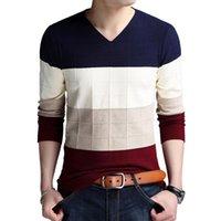 Мужские свитеры Бренд-свитер Осенняя футболка с длинным рукавом V-образным вырезом Тонкий вязаная полосатая нижняя рубашка большого размера M-4XL