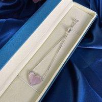 HBP Mode Luxus Neue S925 Sterling Silber Armband Box Kette Rosa Einfache Koreanische Frauen Herzförmige Verstellbare Länge Schmuck