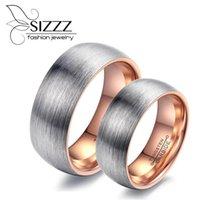 Обручальные кольца Sizzz 6 мм шириной для женщин / 8 мм мужчины розовое золото / черный рисунок вольфрамовая стальная пара кольцо женщины и