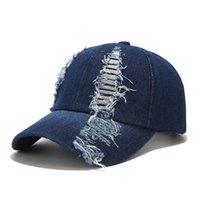Европейская американская промытая джинсовая крышка с отверстиями мужчины летняя мода тень солнца шляпа классические бейсбольные шапки