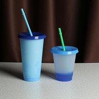 Tasses 5 pcs / set gobelet en plastique avec couvercle multi-couleur tasse de paille de gobelets froids réutilisables bouteilles de Noël cadeaux cadeaux tazas confettis