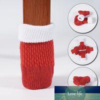 4шт красный стул ноги нож для ноги крышка пола защитные вязание рождественские носки противоскользящие столовые мебельные ноги рукава крышки защитные