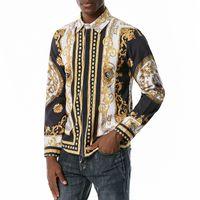 Hombres Impresas Camisas Moda Vintage Slim Fit Mens Vestido Camisa Camisa Social Masculina Camisa de manga larga fiesta de hombres Hip Hop Ropa Tops 540