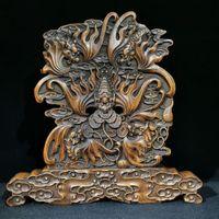 Tibetanisches chinesisches asiatisches antikes Weinlese-Handwerk Geschenk Hand schnitzt Rosenholz 5 geflügelte Drachen Byobu Bring Reichtum und Glücks-Home-Ornament-Maskottchen