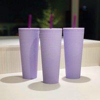 New Starbucks North America Taro Purple Durian Straw Cup 710ml Mermaid Plaid Grain Plastic Cold Water Coffee Cup Gift