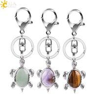 Natural Crystal Stone Turtle Pendant Car key rings for Ladies Men Bag Decoration Keyrings Buckle Holder Keychains Christmas Gift