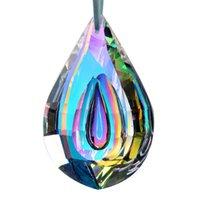 HD 76 ملليمتر الملونة مقعر دمعة مصباح المنشور أجزاء loquat شكل الثريا الزجاج بلورات شنقا قطرات المعلقات الديكور