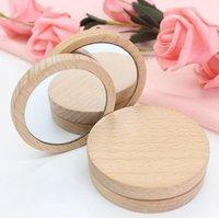 الخشب صغير جولة مرآة المحمولة جيب مرآة خشبية صغيرة ماكياج مرآة الزفاف حزب الإحسان هدية شعار مخصص WWA142
