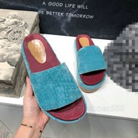 Angelina Hausschuhe Logo-Jacquard Bio-Denim-Plattform Sandalen Damen Designer Slipper Slide Sommer Bunte Patentmonogramme Leder Flip Flop