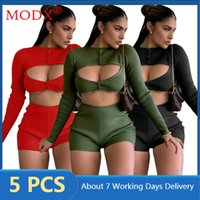 Women's Tracksuits Women Sweatsuits Long Sleeve Crop Top + Short Layered Cut Out 2 Piece Set Outfits Solid Color Bulk Items Wholesale Lots M