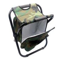 Tragbarer Campingklapper Rucksack Stuhl Doppel Oxford Tuch Kühlbeutel Tarn Camouflage Angelstuhl