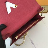 68560 Twist Bloqueo de cinturón Cadena de la cadena de la billetera Mini Cross Cross Body Strap Bag Cuero Embrague Teléfono Pochette Accessoires Felicie