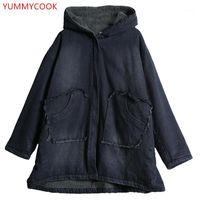 Women's Down Parkas Yummycook 2021 Hiver Plus Velvet Épais Épais Vêtements Pour femmes à capuche Lâche Denim chaud Coton Coton Femme A4