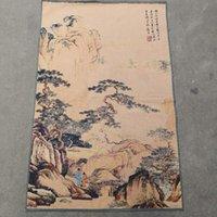 Altre arti e artigianato Tang Bohu Paesaggio Fine Thangka su Painting broccato ricamato