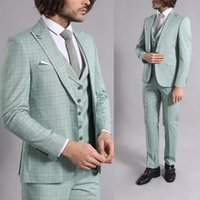 Three-Pieces Men Suits Business Casual Suit Green Plaid Slim Fit Groom Party Coat Tailored Work Wear