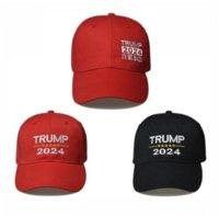 Trump 2024 Şapka Trump Pamuk Sunscreen Beyzbol Şapkası Ayarlanabilir Tokalar Ile Nakış Mektuplar ABD Cap Açık CPA328 için Kırmızı Ve Siyah Renk