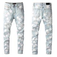 Top Alta Qualidade Mnes Jeans Designer Designer Padrão Impresso Luz azul Jean Cool Casual Slim Fit Stretch Juventude Denim Calças 100% Cottom