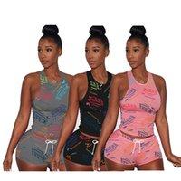 Eté Femmes Vest + Biker Shorts Two Piece Ensemble Tenue Plus Taille 2x Tracksuits Lettre Sportswear Sans Sans Sans Sans + Shorts de yoga Costume de jogging D346
