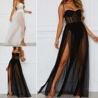 2021 Summer Split Long Dress Women Sexy Hot Thin Mesh Underwear Nightdress Two-Piece Beach Dress 2021